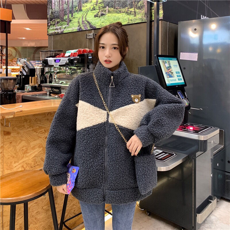 Корейский стиль новинка большой размер свободный напущенный стиль плюс кашемир утепленный кардиган имитация овечьей шерсти куртка для жен...