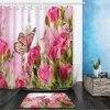Ensemble de rideaux de douche en forme de fleur et de papillon 40x60cm plante florale de printemps décor de salle de bain pour la maison rideau de baignoire et tapis de flanelle
