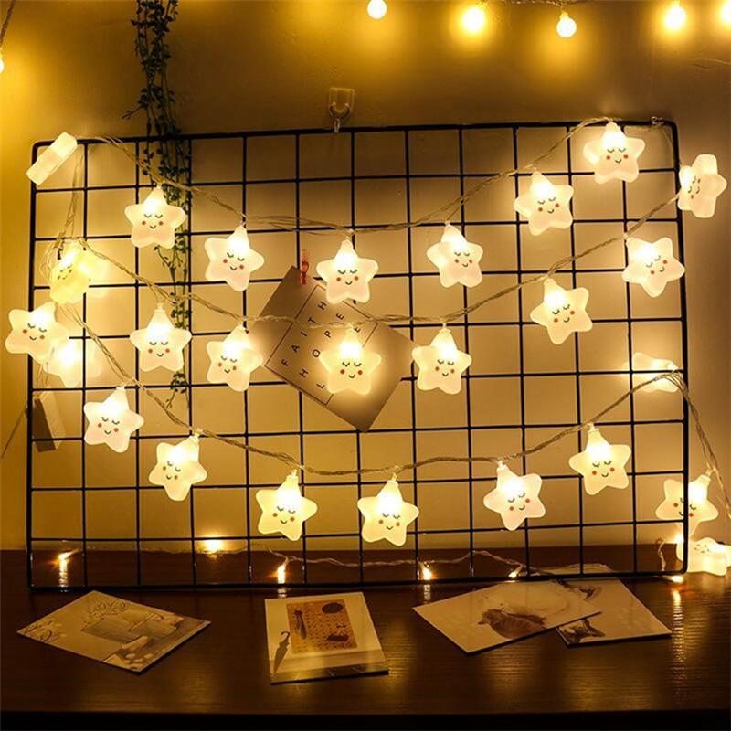 LED String Lights Smiley Stars Cute Girl Room Home Decoration Christmas Lighting 1pcs