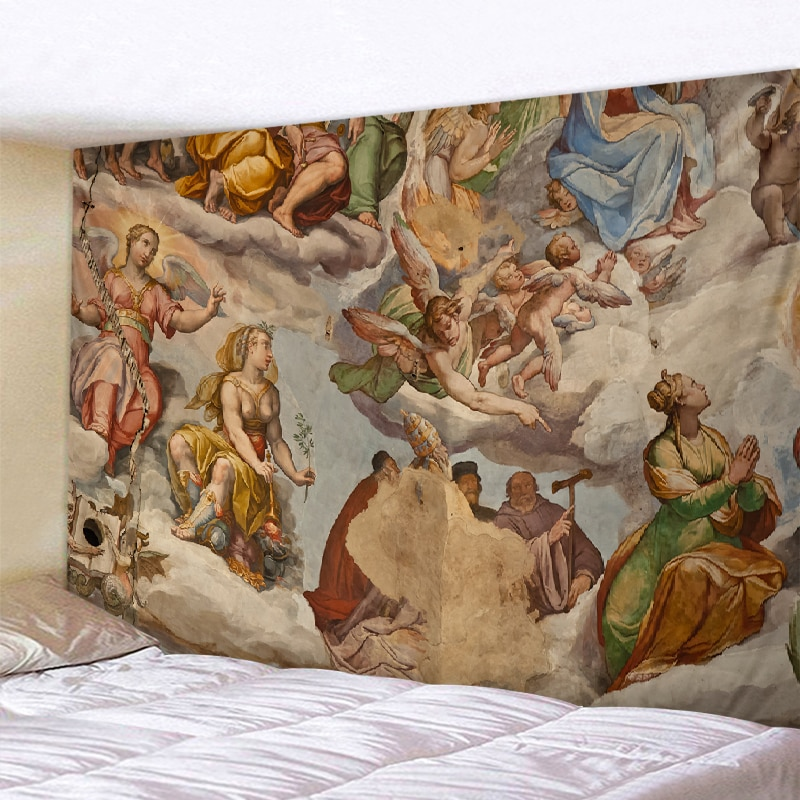 Angel tapestry Florence cathedral Italian Bohemian style angel wings Hippie home blanket Datura wall hanging