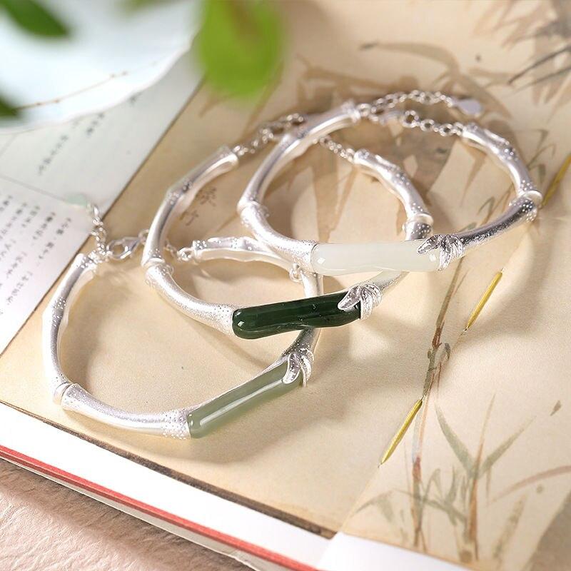 925 argent incrusté naturel Hetian jade bambou bracelet style chinois classique conception de niche réglable femmes marque bijoux