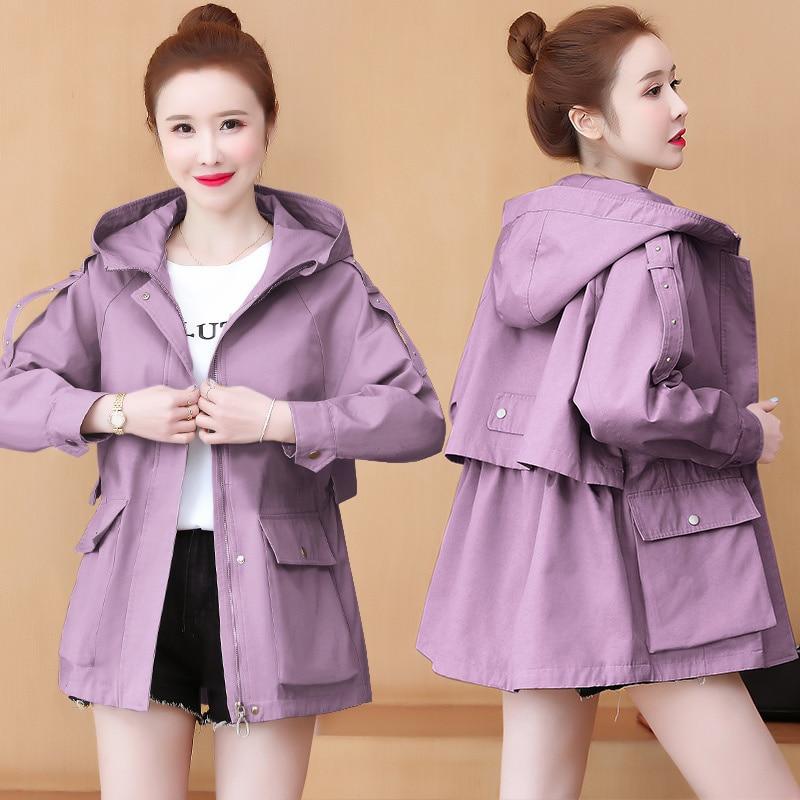 Ветровка женская средней длины новинка весна-осень 2021 Корейская версия приталенный пуховик женская мода в этом году