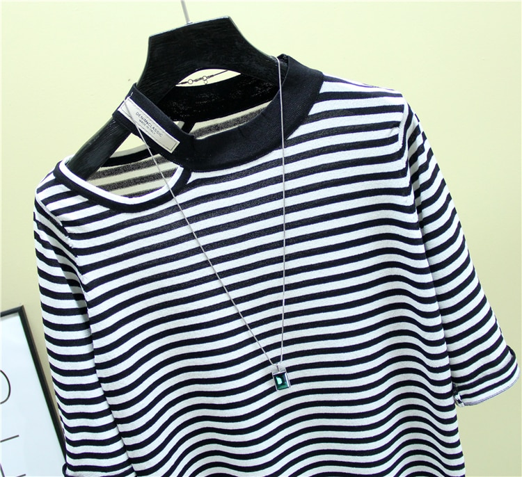 2021summer Fashion The New Hollow out stripes O-neck Half sleeve sweater bottoming shirt women's loose thin  pullover
