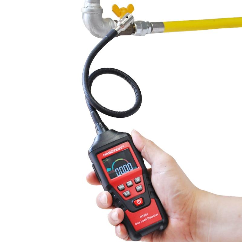جهاز الكشف عن الغاز القابل للاحتراق محلل الغاز الاستشعار اختبار الغاز الطبيعي مع إنذار للمنزل المحمولة المحمولة HT601 غير المدرجة البطارية