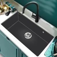 kitchen stainless steel sink vegetable washing basin dishwashing basin household table large single tank black set 780x430mm