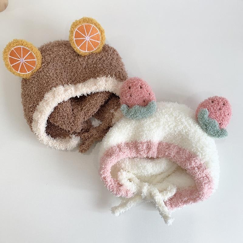 Детская зимняя шапка, плотная теплая шапка для маленьких девочек и мальчиков, облегающая шапка с ушками, теплая детская шапка, разноцветная ...
