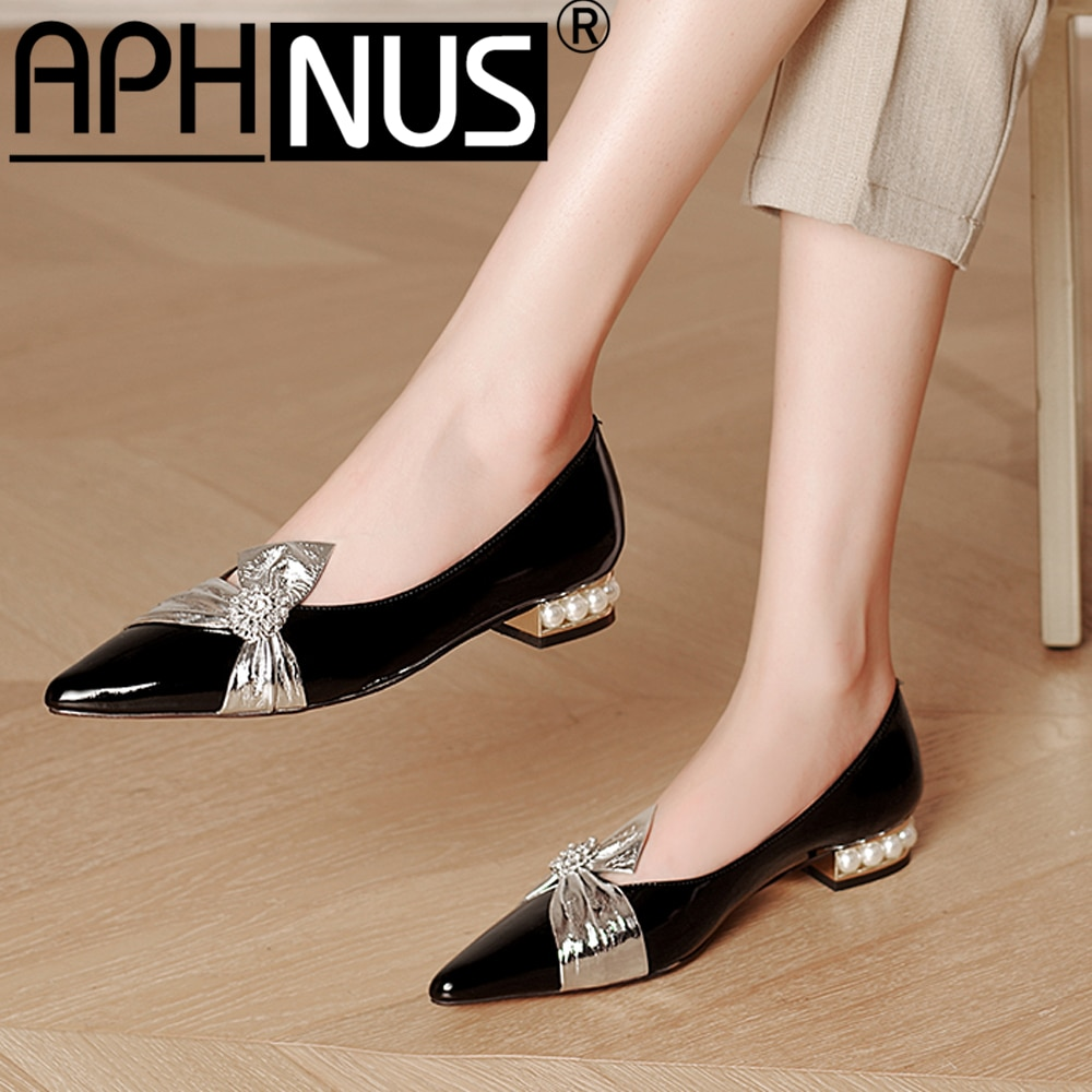 APHNUS Womens Shoes Leather Bowtie Beading Pearl Low Mid Heels Pumps Woman 2021 Shoes For Women New