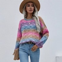 2021 autumn winter women rainbow sweaters tie dye pullover o neck loose striped jumpers candy color female tops drop shipping