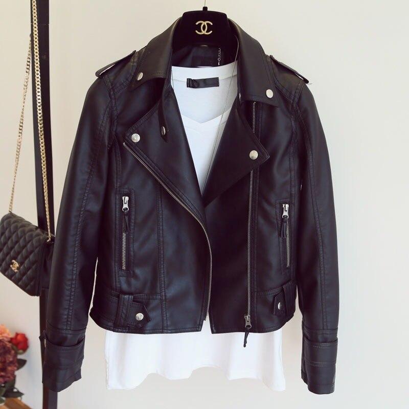 GOOHOJIO 2020 New Basic Zipper Moto Biker Jackets Autumn Classic Coat Plus Size Outerwear Ladies PU