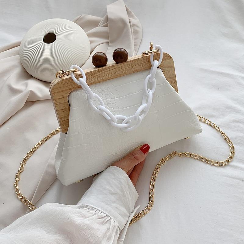 Stone Pattern PU Leather Clip Bag For Women 2021 Small Acrylic Chain Shoulder Lady Shell Crossbody Fashion Handbags