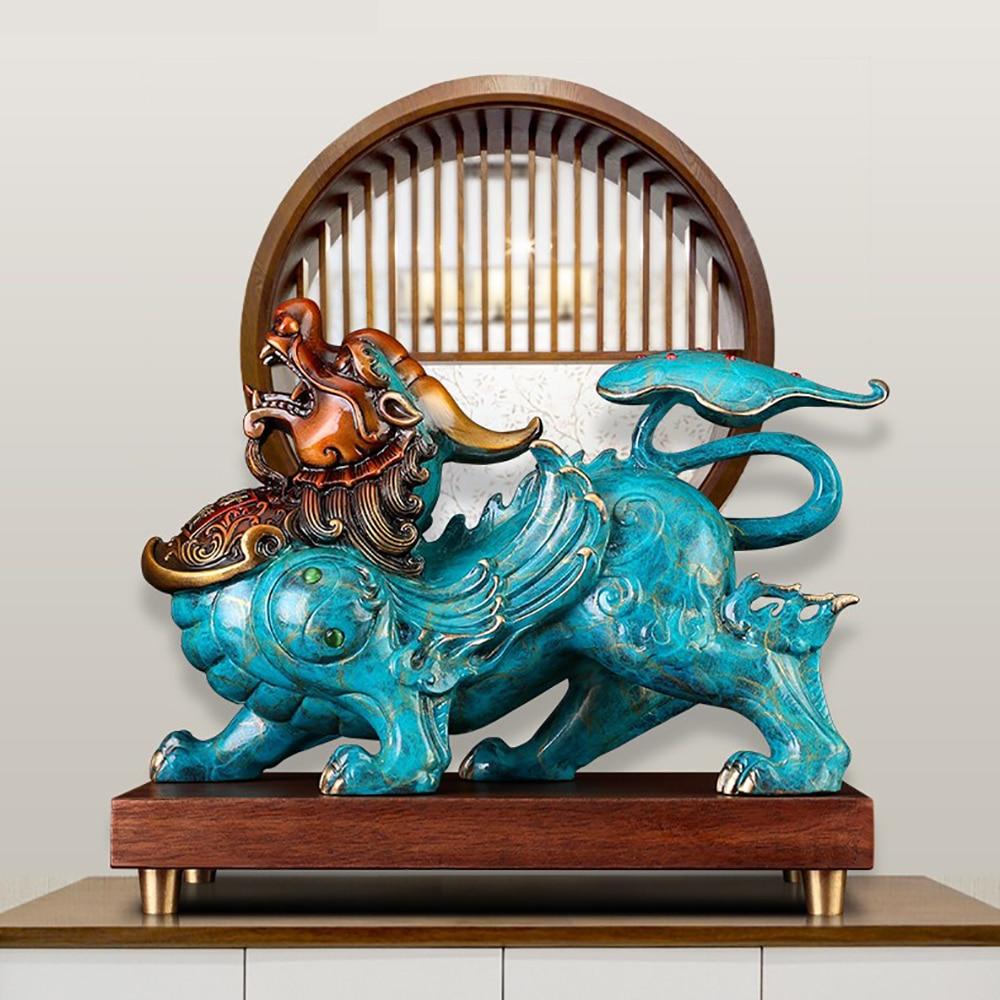 الرجعية النحاس الصينية القديمة الوحش تحلق Pixiu ديكور المنزل الحلي النحاس تماثيل صغيرة على شكل حيوانات فنغ شوي محظوظ الديكور النحت