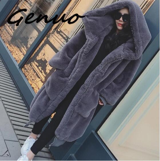 Женская длинная однотонная Шуба с капюшоном, Повседневная теплая шуба из искусственного меха с длинным рукавом, верхняя одежда большого ра...