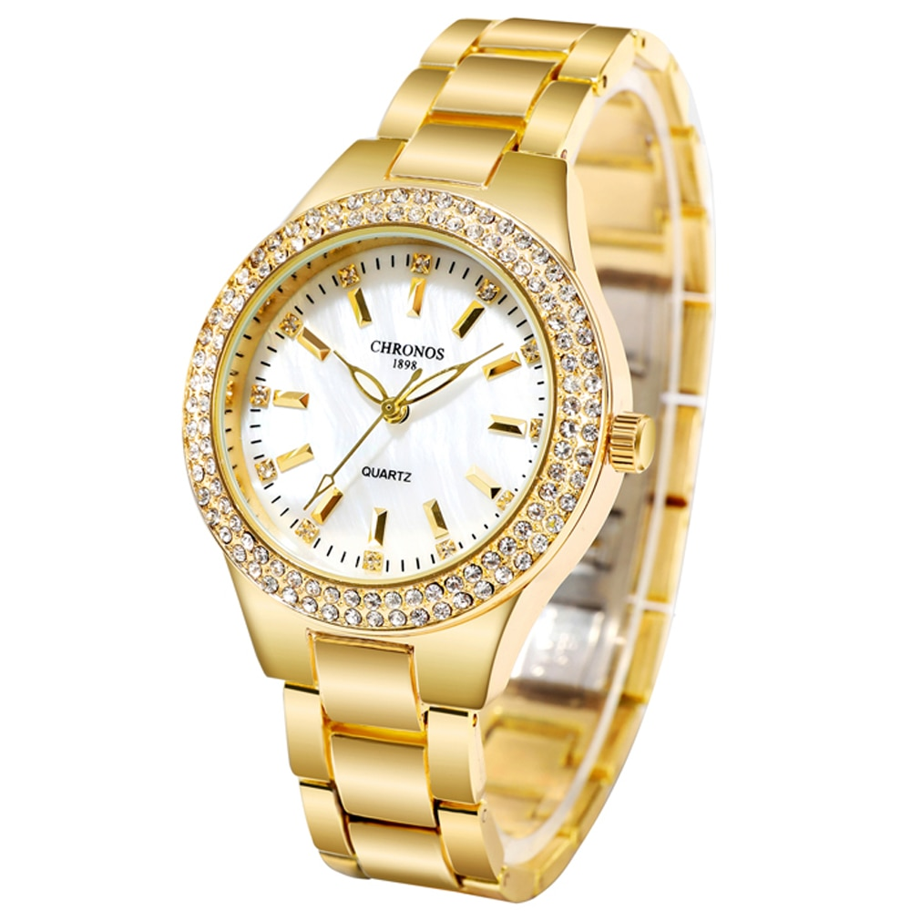 CHRONOS Women Watch Rhinestones Simple Dial Stainless Steel Folding Clasp Bracelet Luxury Ladies Fashion Wristwatch CH36 enlarge