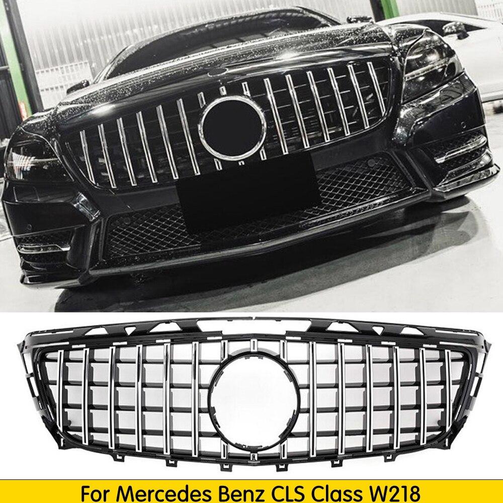 Para w218 gt grille gtr grade para mercedes cls classe 2011-2014 substituição malha acessórios do carro amortecedor dianteiro sem emblema