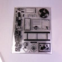 Diy Scrapbooking Clear Siliconen Stempel Reizen Wereldkaart Kompas Post Kaart Seal 15x18cm