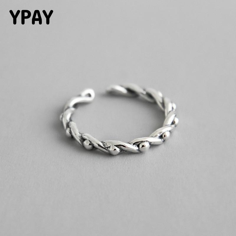 YPAY 100% sólida plata 925 líneas trenzadas Vintage con cuentas redondas anillos ajustables para mujeres joyería fina regalos YMR789