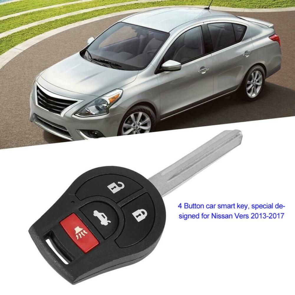 4 botones control remoto de coche para Nissan Versa 2013-2017 piezas accesorios Auto duradero