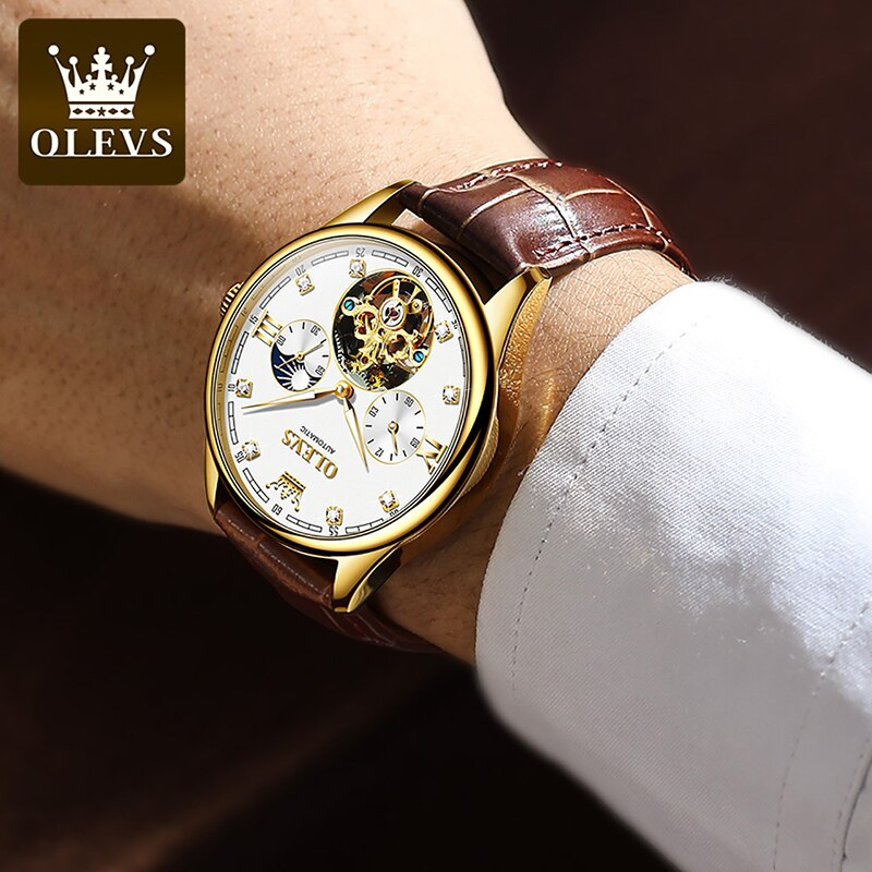 OLEVS Top Brand Fashion Brown And White Automatic Mechanical Watch Men's Multi-function Hollow Dial Luminous Waterproof Watch enlarge