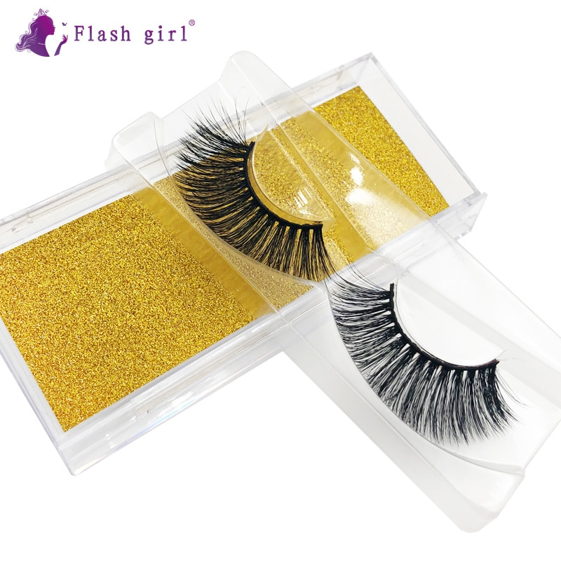 Hot Sale 1 Pair Natural Long Eye Lashes Makeup 3D Mink Eyelash Extension Thick Soft False Eyelashes