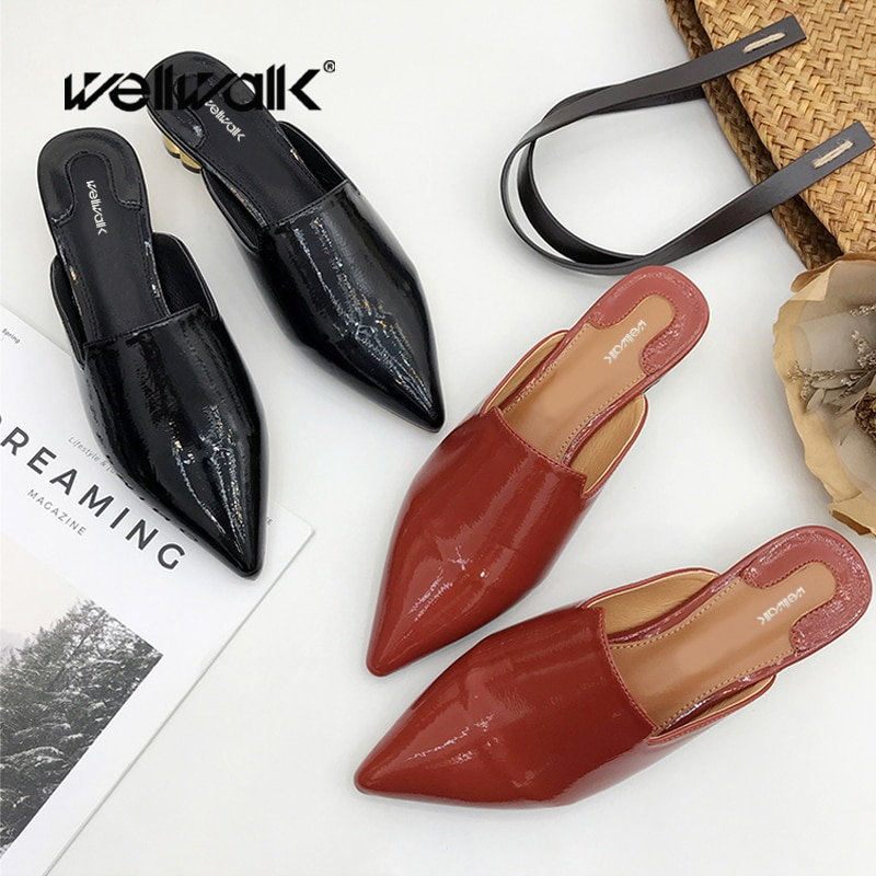 Dress Patent Slippers Women Heels Shoes Pointed Toe Female Summer Fashion Slides Metal Block Heel Ladies Slip On Loafers 2020