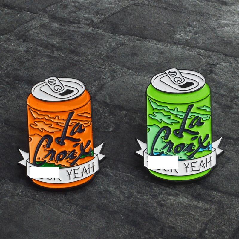 Green Orange Cola Cans Lapel Pin Fashion Cartoon Brooches Enamel Pins Badge Backpack Denim Shirt Pin Jewelry