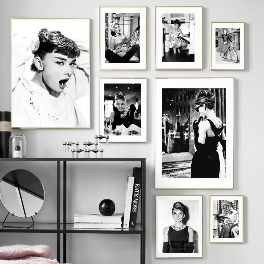 Audrey Hepburn imprimé en noir et blanc de Star du film pour décor nordique