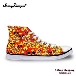 Noisydesigns Women High Top Canvas Shoes Multifloras Floral Skulls Printing Unisex Sneakers Men Ladies Customized Dropshipping