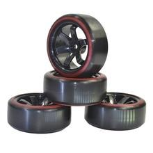 4pcs RC Hard Plastic 12mm Hex Wheels & Tires for 1/10 Tamiya Kyosho HSP HPI Sakura Drifting Car 94123 94122 94103 D4 D3