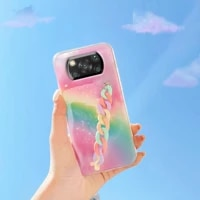 rainbow stars wrist strap silicone phone case for xiaomi poco x3 nfc pro m3 global original soft hand band protection back cover