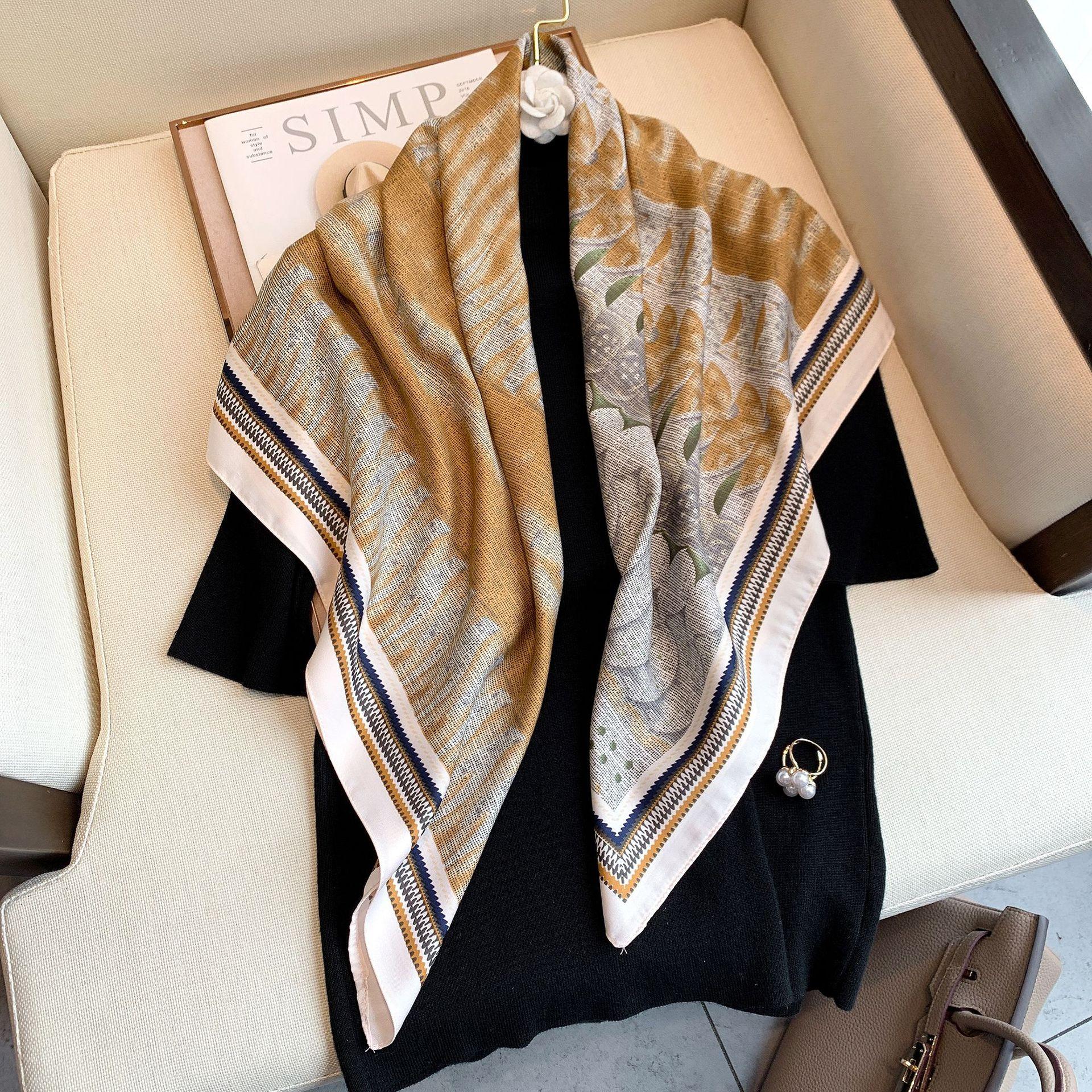 Design Brand 2021new Women Silk Scarf Square Chain Print Head Scarfs Female Satin Hijab Scarves Shaw