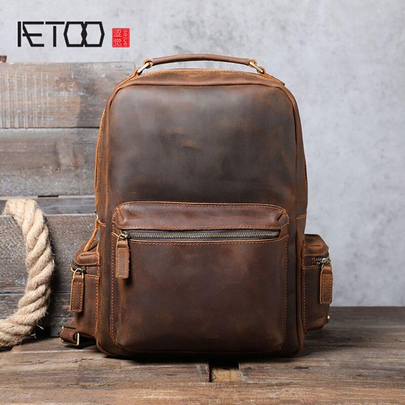 AETOO-حقيبة ظهر جلدية ريترو كريزي هورس للرجال ، حقيبة كمبيوتر مصنوعة يدويًا ذات سعة كبيرة
