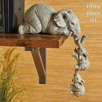 3 piece ensemble Elephant Resine Decoration Sweet Figurine Maison Ornement Animal Decor De Bureau A La Main Artisanat Sculpture Pour La Decoration Interieure