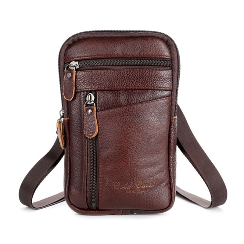 misfits 100% genuine leather men shoulder bag travel waist pack casual small crossbody bags cell phone pouch belt messenger bag New Genuine Leather Men Waist Pack Business Casual Phone Pouch Small Zipper Male Travel Sports Waterproof Messenger Belt Bag