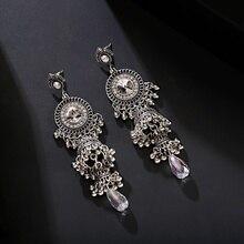 2020 Women's Vintage Ethnic Silver Color Indian Jhumka Bell Tassel Earrings Retro Gypsy Gold Drop Earrings Brincos Jewelry