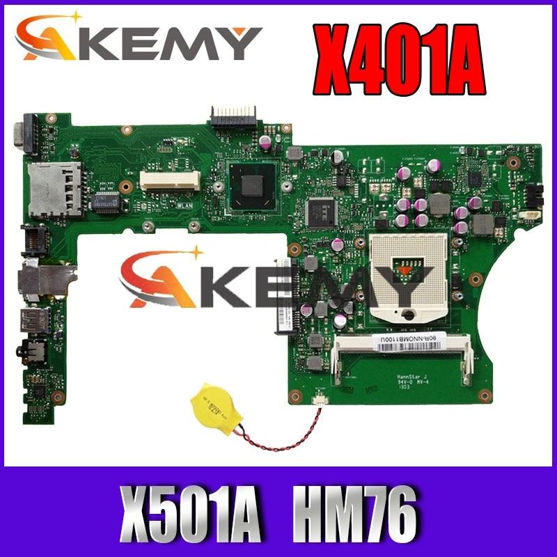 X401A HM70 для ASUS X301A X401A X501A материнская плата Оригинал X401A SLJ8E HM76 поддержка I3 I5 ЦП тест оригинал