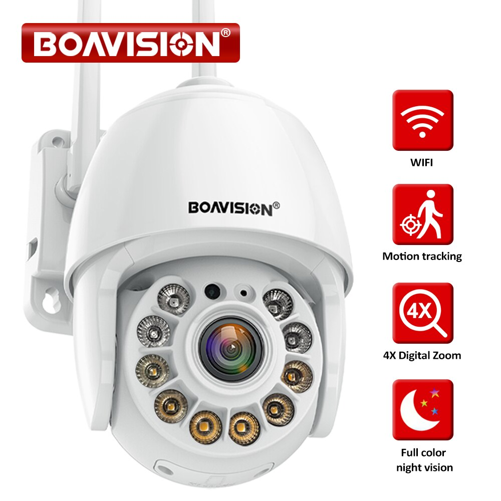 1080P IP كاميرا كاميرات الأمن مزودة بخاصية WiFi اللاسلكية 4X الرقمية التكبير السيارات الحركة تتبع كامل اللون للرؤية الليلية في الهواء الطلق PTZ كامي...