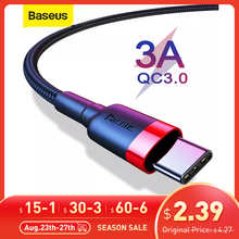 Baseus USB C Cable Type C Cable for Samsung S20 S10 Qucik Charge 3.0 USB C Cable Phone Wire Cord USB Type C Cable for Xiaomi