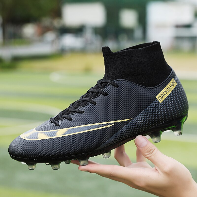 High Ankle Football Boots Men Ultralight Futsal Cleats Soccer Shoes Kids Outdoor FG/TF Non-Slip Sport Sneakers Unisex Large Size