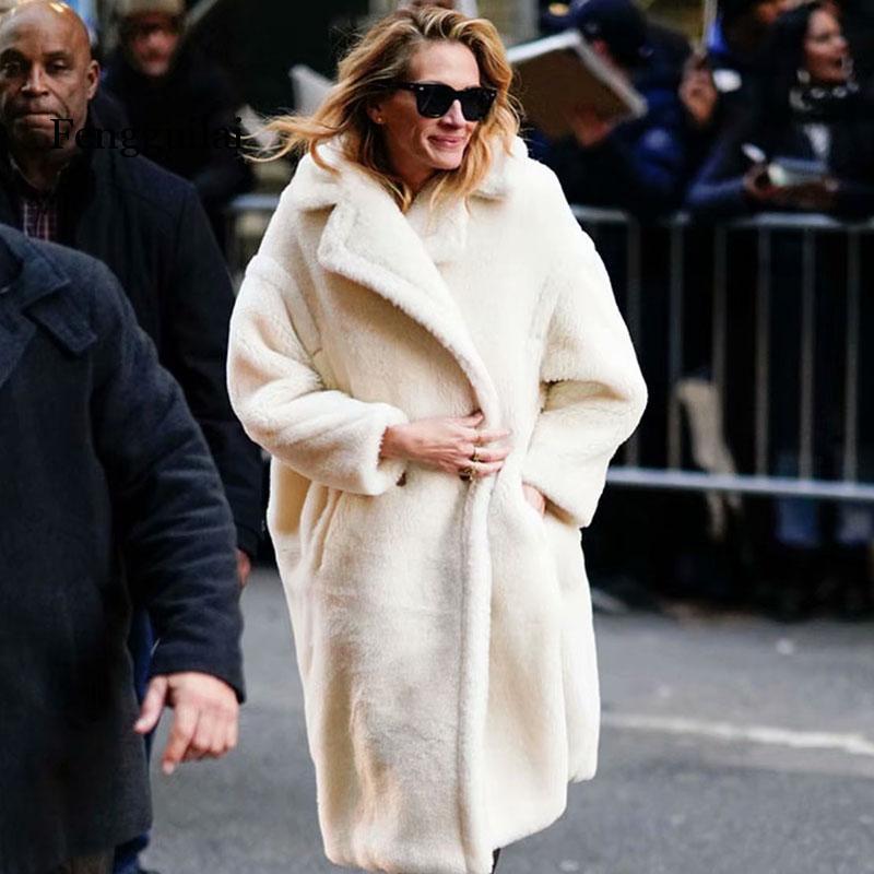 Autumn Winter Women Beige Coat Stylish Female Thick Warm Cashmere Jacket Casual Streetwear