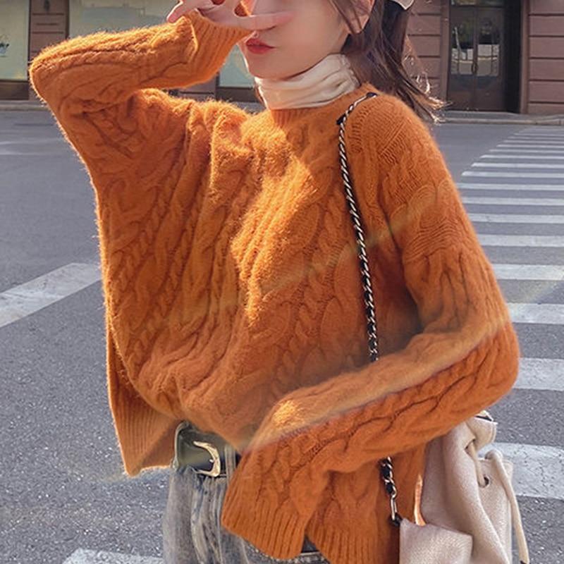Camisola de tamanho grande grosso macio solto casual topo de malha 2020 outono inverno pulôver vintage estilo universitário vermelho o-pescoço feminino exterior wear