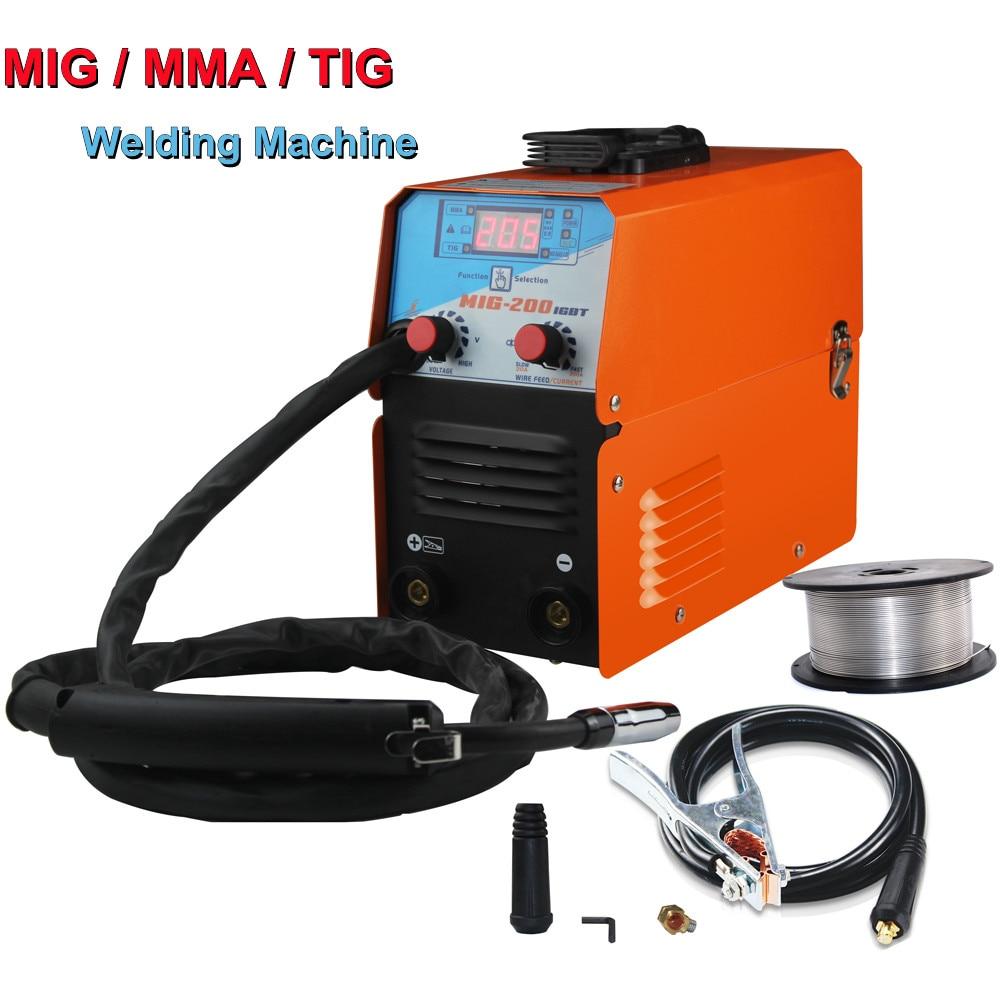 Mini MIG-200 AC220V IGBT MIG MMA TIG Gasless Welder Welding Machine Soldering Tool Welding Equipment