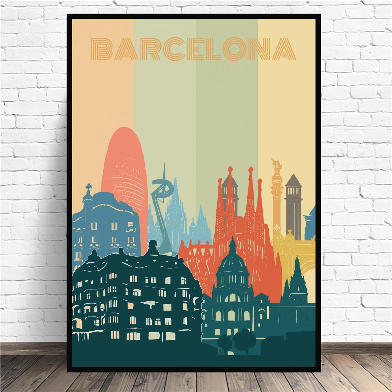 Cuadro de paisaje urbano de la ciudad de Barcelona, pintura en lienzo,...