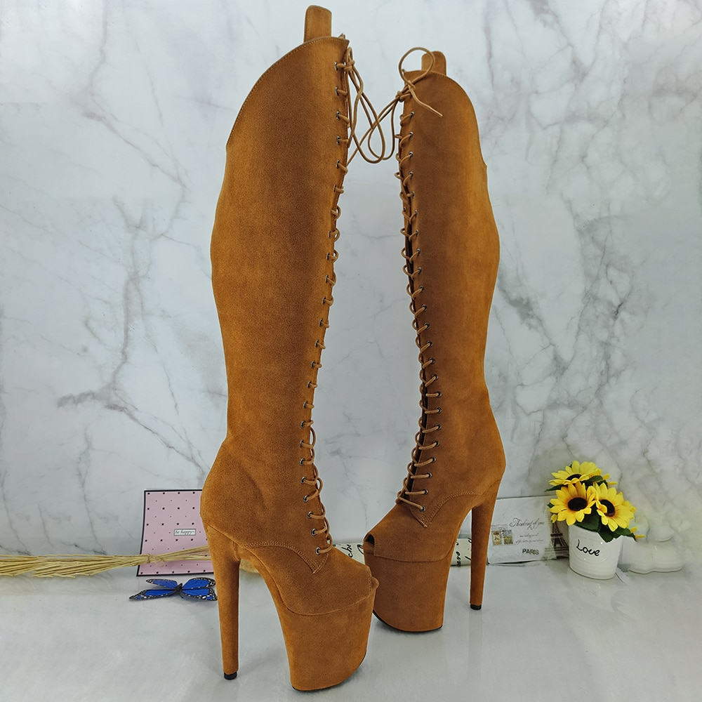 Leecabe Suede 20CM/8inches Pole dancing shoes High Heel platform Boots open toe Pole Dance boots