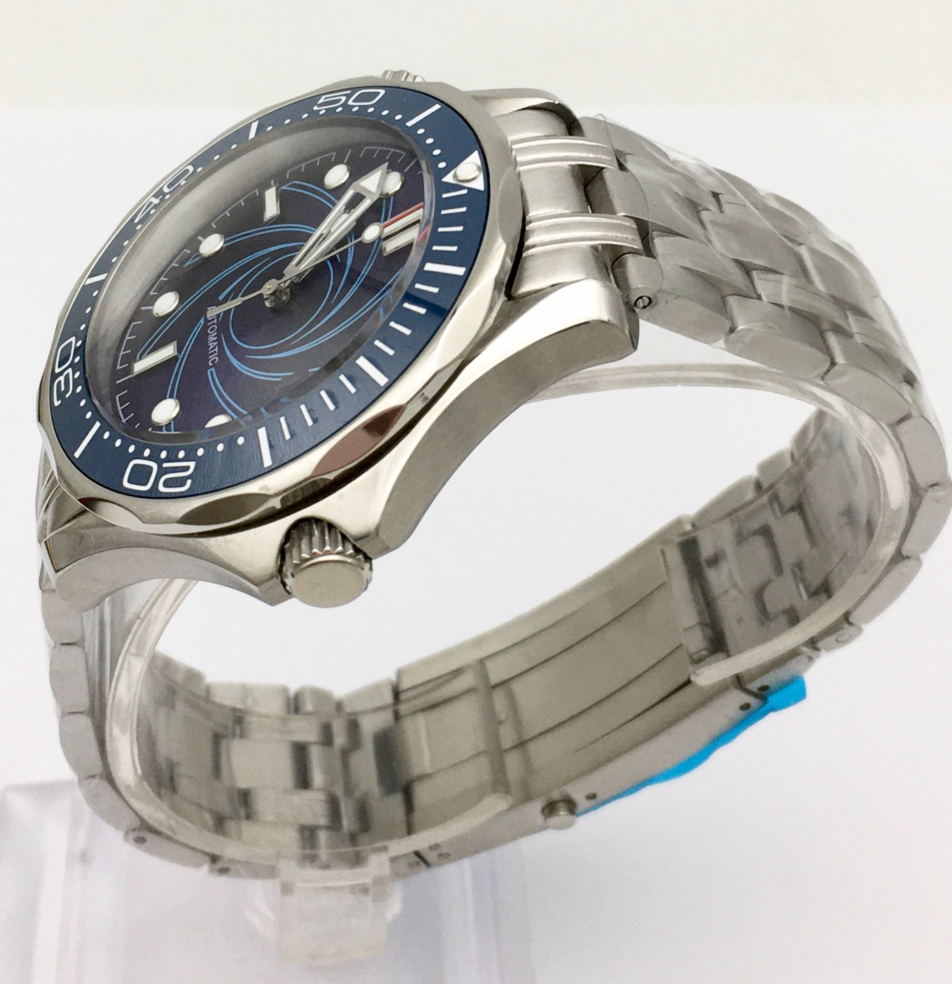 41 cm blue dial watch men's watch automatic mechanical clock date ceramic bezel stainless steel solid case 007 enlarge
