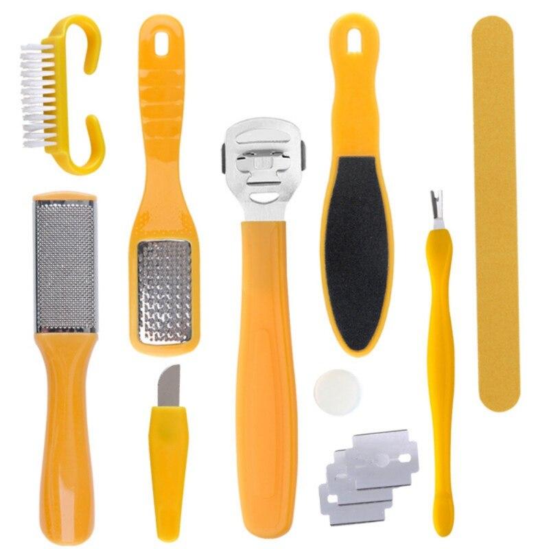 Neue Professional Fuß Wäscher Professionelle Pediküre Tools Kit Reinigung Werkzeug Für Füße Peeling Wäscher Reiniger 10Pcs In 1 Pa