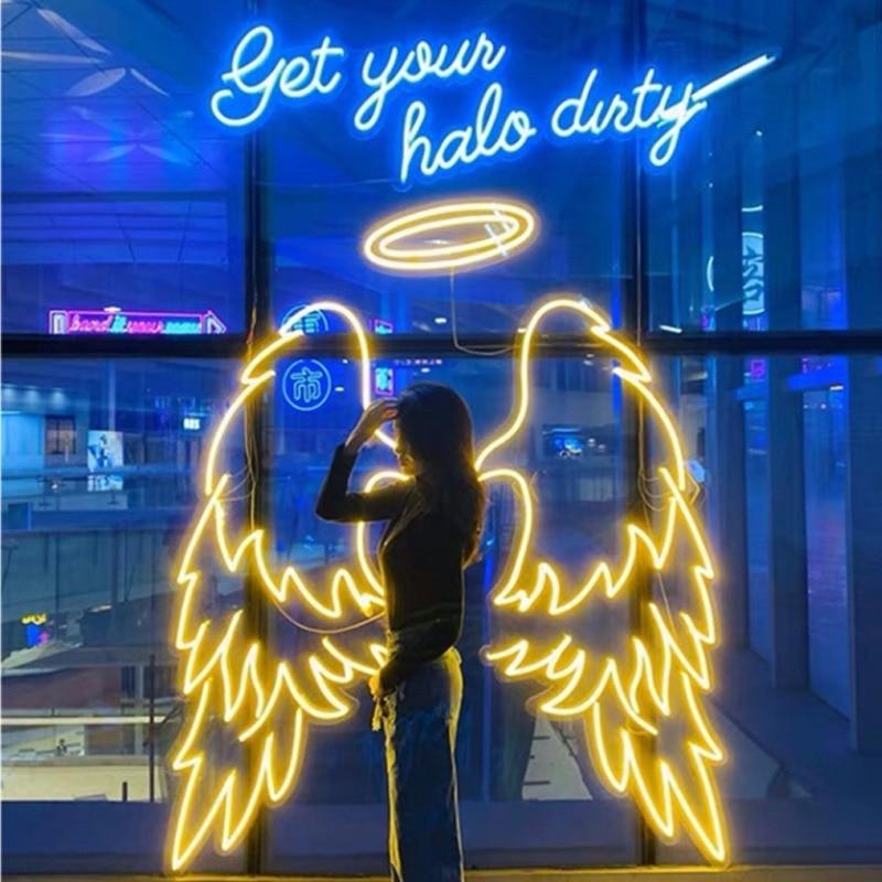 Drop shipping LED Illuminated Logo Acrylic Wing Love Wedding Custom Neon Signs Word Lights for Home Bar room decoration lights