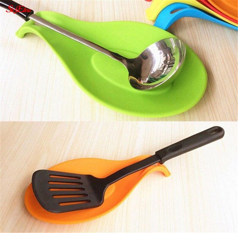 Soporte de cuchara de silicona resistente al calor, soporte de espátula para utensilios de cocina, Envío Gratis