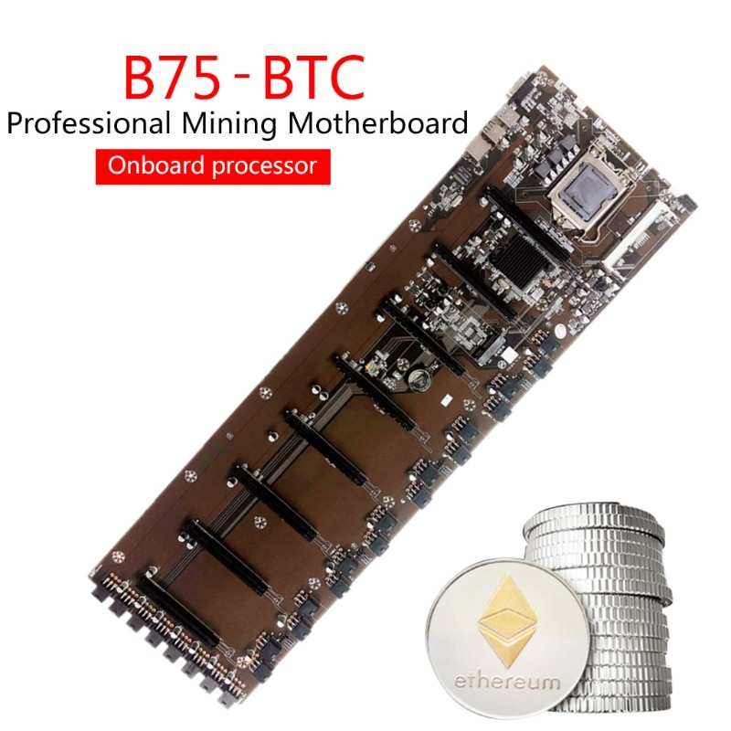 2021 New Onboard  B75 BTC Mainboard Chipset VGA 8-GPU Bitcoin Motherboards for Miner 8PCI-E Mining Mainboard enlarge