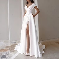 2021 womens summer solid color evening dress v neck sexy white long dress princess high waist split mopping dress party