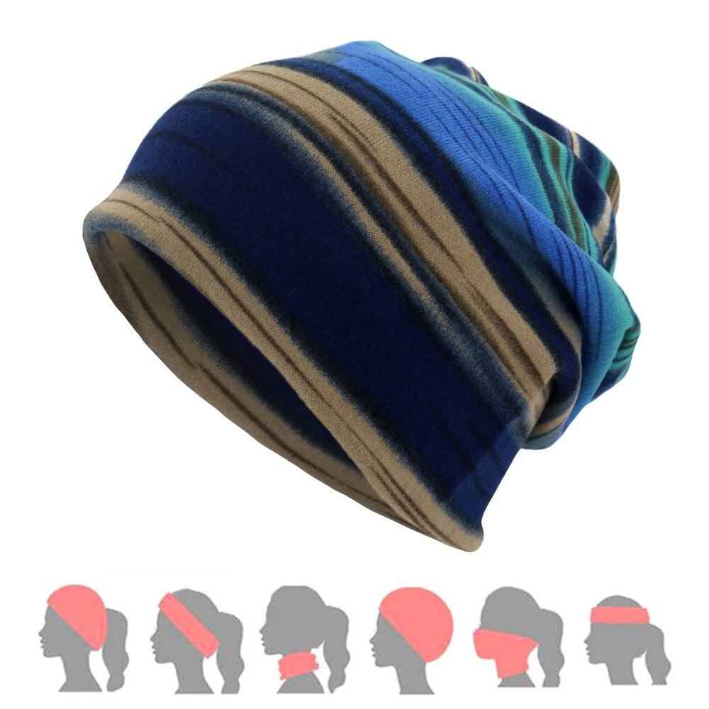 2019 Unisex Stripe Print Scarf Beanie Cap Hat Casaul Outdoor Convertible Windproof Hats FOR Spring S